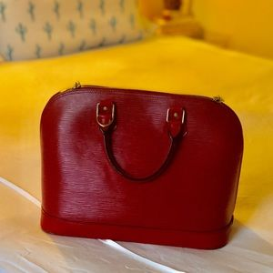 Louis Vuitton Bags - Louis Vuitton Red Epi Leather Alma Satchel